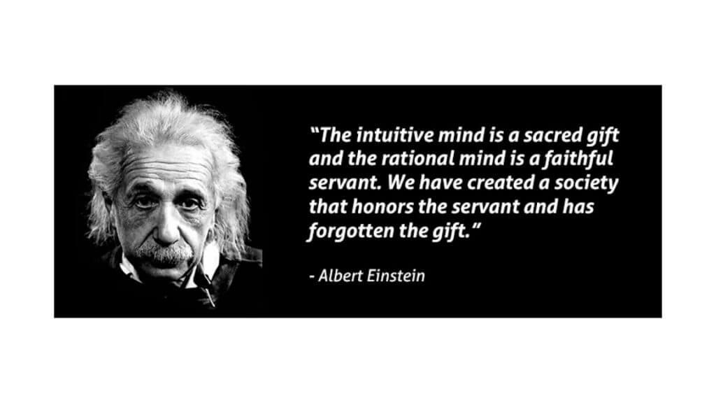 直覺是人類莊嚴的天賦,理性只是忠誠的僕役;我們卻造就了一個歌頌僕役、遺忘天賦的社會。~ 愛因斯坦