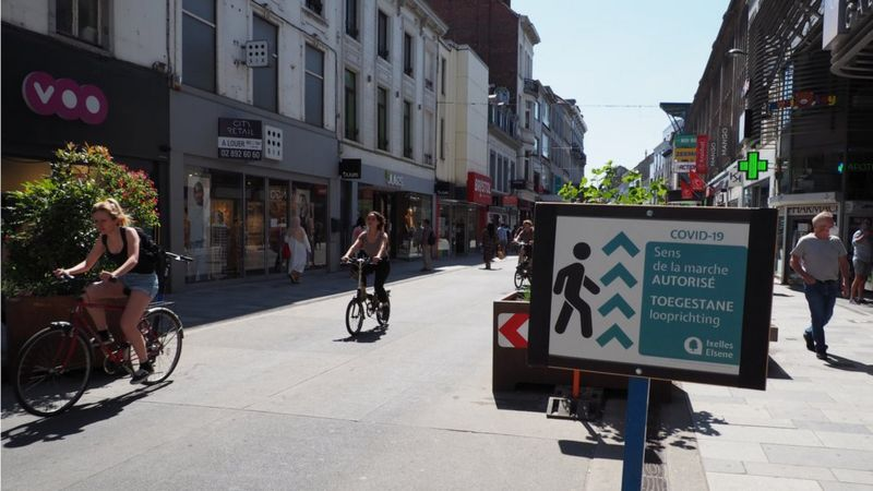 New bike lanes in Brussels have extra space to ensure social distancing is maintained