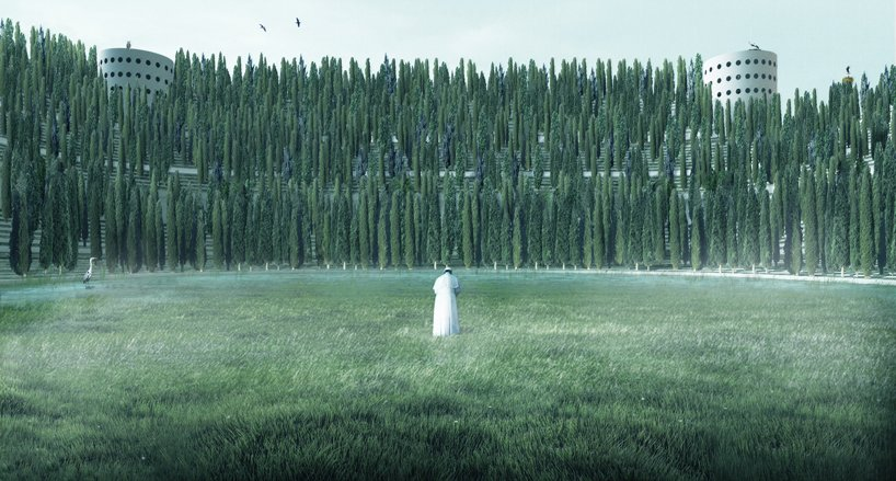 the 35,000 cypresses will surround visitors entering the stadium