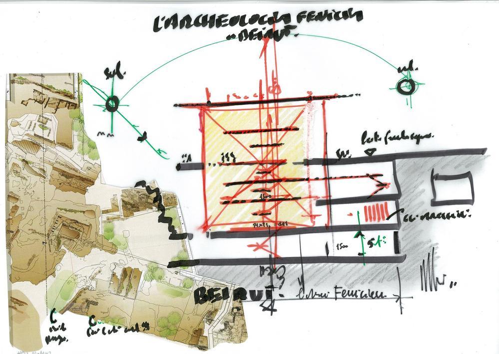 Renzo Piano L'Archeologia Fenicia a Beirut Sketch & Collage; Unique, Signed